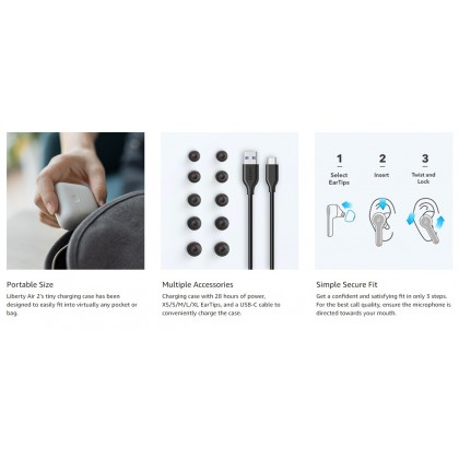 Anker Liberty Air 2 Wireless Earbuds, Diamond Coated Drivers, Bluetooth Earphones, 4 Mics, Noise Reduction, 28H Playtime, HearID, Bluetooth 5, Wireless Charging
